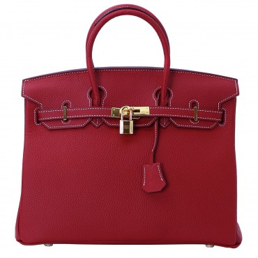 Rosaire « Beaubourg » Top Handle Bag Made of Genuine Togo Full Grain Leather with Padlock in Red Wine Color / Gold 15881