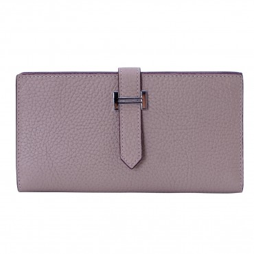Rosaire « Catherine » Women's Togo Leather Wallet Taupe Color 15984