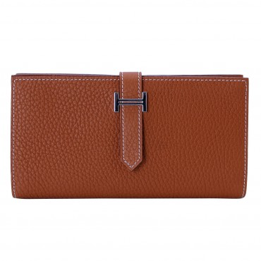 Rosaire « Catherine » Women's Togo Leather Wallet Brown Color 15984