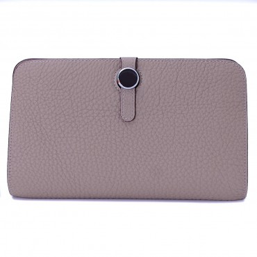 Rosaire « Harmonie » Women's Togo Leather Wallet Taupe Color 15987