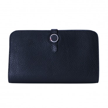 Rosaire « Harmonie » Women's Togo Leather Wallet Black Color 15987