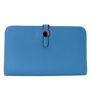 Rosaire « Harmonie » Women's Togo Leather Wallet Blue Color 15987