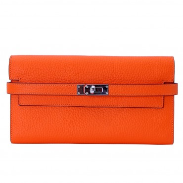 Rosaire « Havana » Women's Togo Leather Wallet with Strap Closure Orange Color 15988