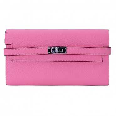 Rosaire « Havana » Women's Togo Leather Wallet with Strap Closure Pink Color 15988