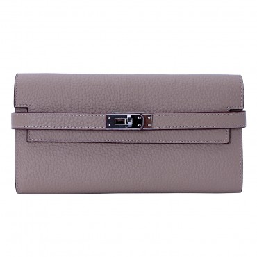 Rosaire « Havana » Women's Togo Leather Wallet with Strap Closure Taupe Color 15988