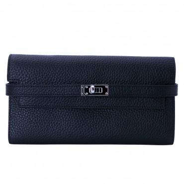 Rosaire « Havana » Women's Togo Leather Wallet with Strap Closure Black Color 15988