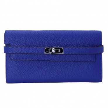 Rosaire « Havana » Women's Togo Leather Wallet with Strap Closure Electric Blue Color 15988