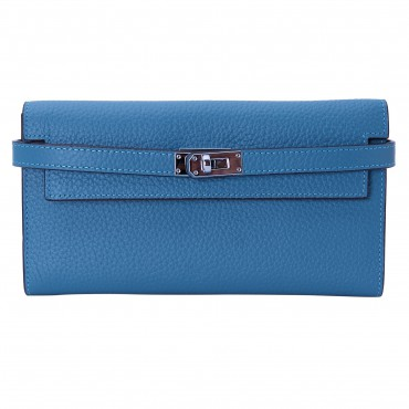 Rosaire « Havana » Women's Togo Leather Wallet with Strap Closure Blue Color 15988