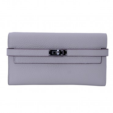 Rosaire « Havana » Women's Togo Leather Wallet with Strap Closure Light Gray Color 15988