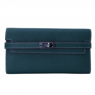 Rosaire « Havana » Women's Togo Leather Wallet with Strap Closure Dark Green Color 15988