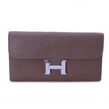 Rosaire « Huguette » Long Wallet Made of Genuine Togo Full Grain Leather in Elephant Gray Color 15985