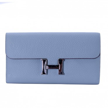 Rosaire « Huguette » Long Wallet Made of Genuine Togo Full Grain Leather in Light Blue Color 15985