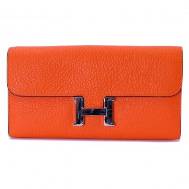 Rosaire « Huguette » Long Wallet Made of Genuine Togo Full Grain Leather in Orange Color 15985