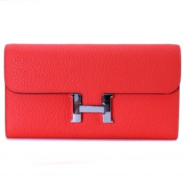 Rosaire « Huguette » Long Wallet Made of Genuine Togo Full Grain Leather in Watermelon Red Color 15985