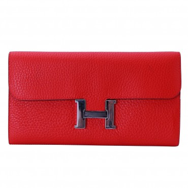 Rosaire « Huguette » Long Wallet Made of Genuine Togo Full Grain Leather in Red Color 15985