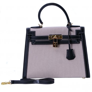 Rosaire « Capucine » Top Handle Bag Made of Togo Leather and Canvas with Shoulder Strap and Padlock / Black Color 75163