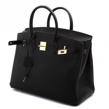 Rosaire « Beaubourg » Genuine Calfskin Full Grain Leather Top Handle Bag Padlock in Black / Silver 15881