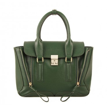 Rosaire « Royston » Satchel Bag Made of Genuine Cowhide Leather in Green Color / 75308