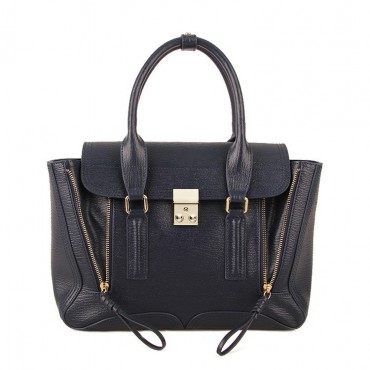 Rosaire « Royston » Satchel Bag Made of Genuine Cowhide Leather in Ink Blue Color / 75308