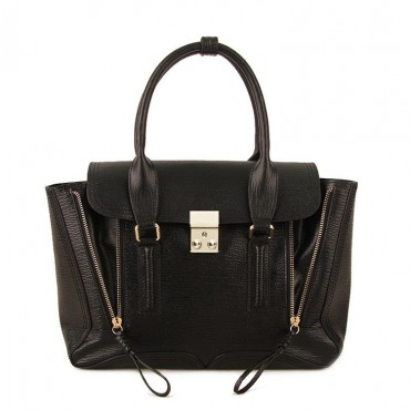 Rosaire « Royston » Satchel Bag Made of Genuine Cowhide Leather in Black Color / 75308