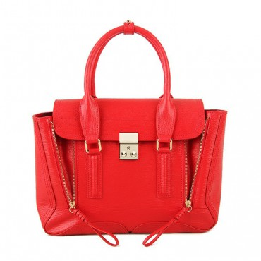 Rosaire « Royston » Satchel Bag Made of Genuine Cowhide Leather in Red Color / 75308