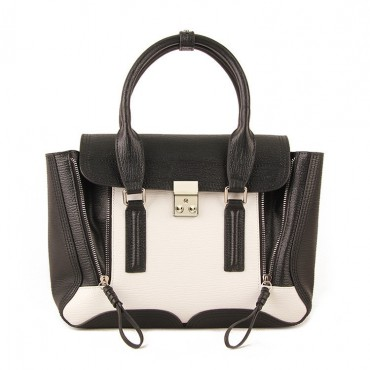 Rosaire « Royston » Satchel Bag Made of Genuine Cowhide Leather in Black & White Color / 75308