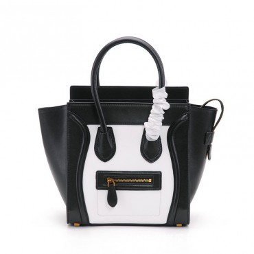 Eldora Christie Women's Leather Top Handle Bag in Black / White Color 75309