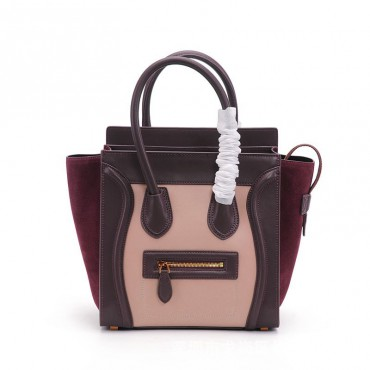 Eldora Christie Women's Leather Top Handle Bag in Red Wine / Dark Brown / Apricot Color 75309