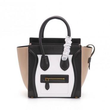 Eldora Christie Women's Leather Top Handle Bag in Black / White / Apricot Color 75309