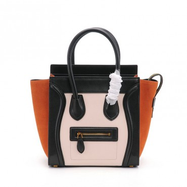 Eldora Christie Women's Leather Top Handle Bag in Black / Apricot / Orange Color 75309