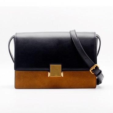 Eldora « Gretchen » Satchel Bag Genuine Cow Leather & Suede Leather Black and Brown Color 76369