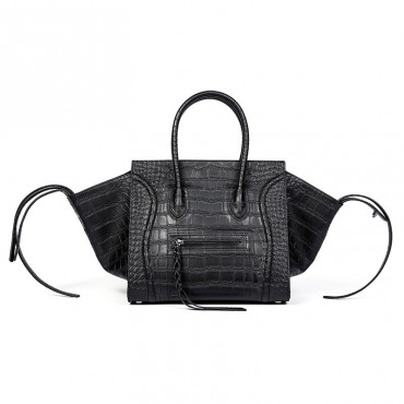 Eldora Christie Women's Leather Top Handle Bag in Black Crocodile Pattern 75309