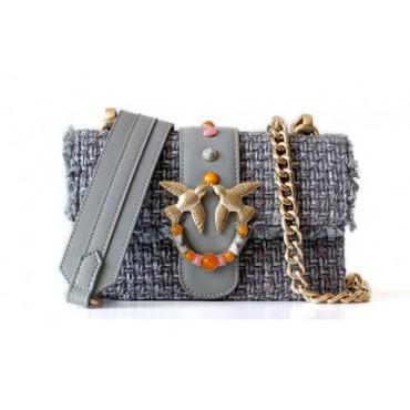 Eldora « Claris » Woolen and Cow Leather Shoulder Bag Gray 76399