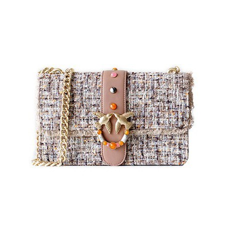Eldora « Claris » Woolen and Cow Leather Shoulder Bag Beige 76399