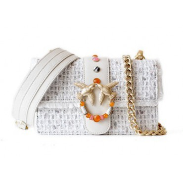 Eldora « Claris » Woolen and Cow Leather Shoulder Bag White 76399