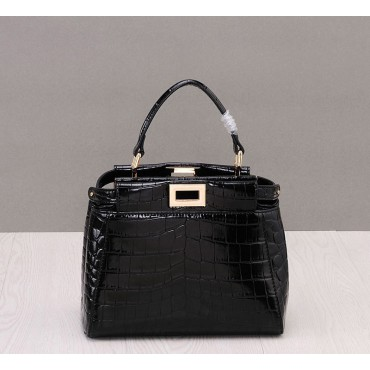 Rosaire « Duomo » Top Handle Bag Cowhide Leather Crocodile Pattern Black 76201