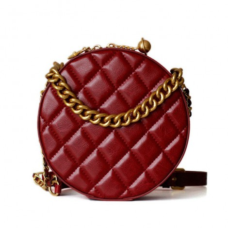 Rosaire Oval Shoulder Quilted Bag Cow Leather Wine Red 77101