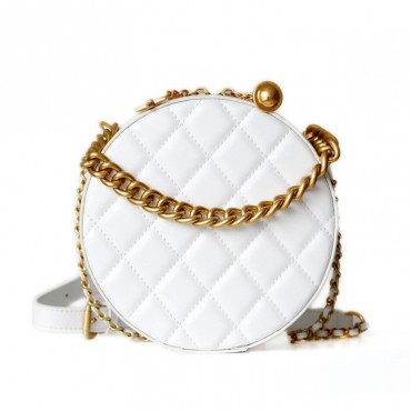 Rosaire Oval Shoulder Quilted Bag Cow Leather White 77101