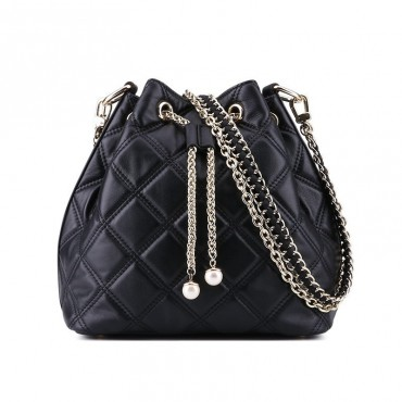 Rosaire « Vigny » Quilted Cowhide Leather Bucket Bag with Drawstring Closure Black Color / 75102