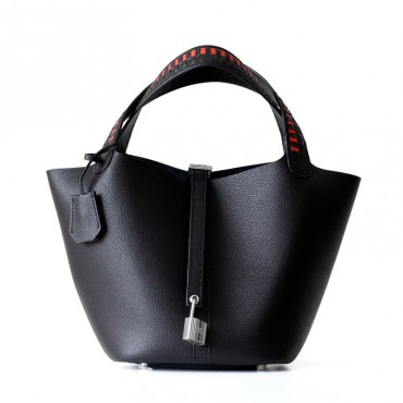 Eldora Genuine Cow Leather Bucket Bag Black 77104
