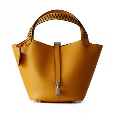 Eldora Genuine Cow Leather Bucket Bag Brown 77104