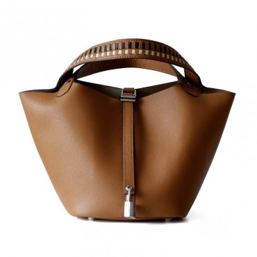Eldora Genuine Cow Leather Bucket Bag Yellow 77104
