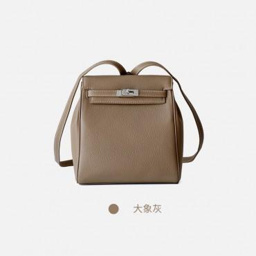 Eldora Genuine Cow Leather Backpack Bag Grey 77105