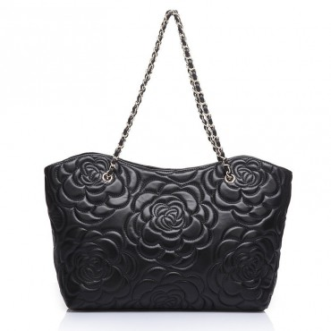 Rosaire « Florence » Sheepskin Leather Tote Bag with Camellia Pattern Black 75114