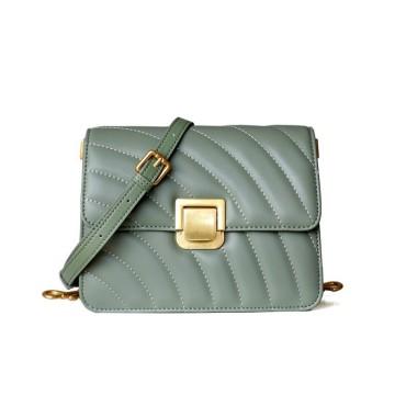 Eldora Genuine Cow Leather Shoulder Bag Green 77110