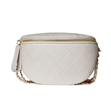 Eldora Genuine Cow Leather Shoulder Bag White 77116