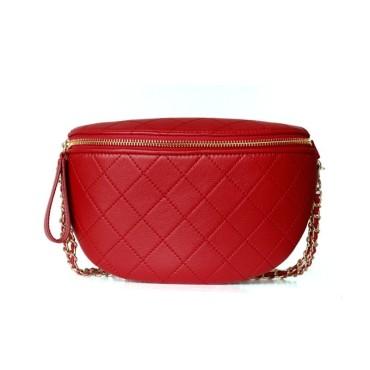 Eldora Genuine Cow Leather Shoulder Bag Red 77116