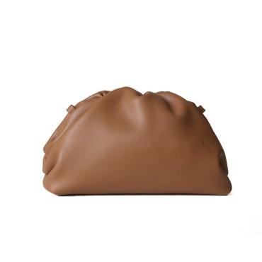 Eldora Genuine Cow Leather Clutch Bag Brown 77117