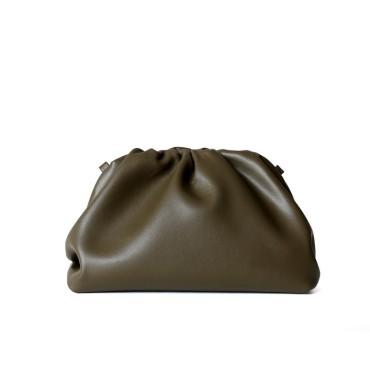 Eldora Genuine Cow Leather Clutch Bag Green 77117