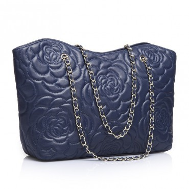 Rosaire « Florence » Sheepskin Leather Tote Bag with Camellia Pattern Blue 75114